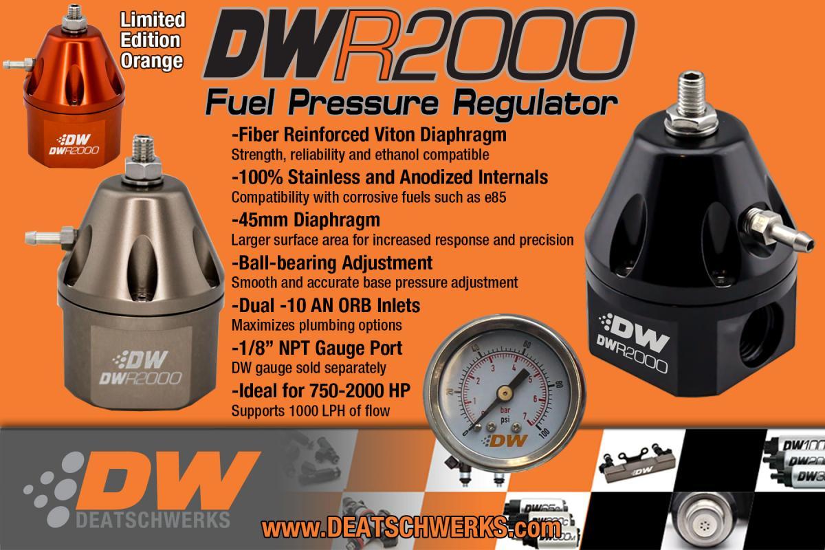 DeatschWerks DW Fuel Pressure Regulator FPR DWR2000 6-2000-FRT Anodized Titanium